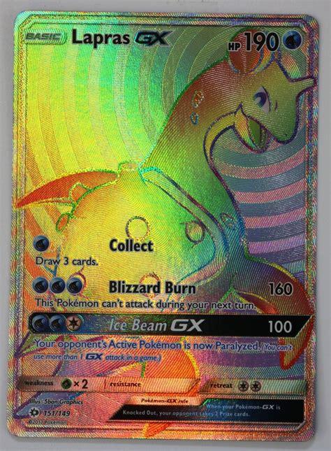 secret cards lapras gx 151 149 rainbow secret tcg sun