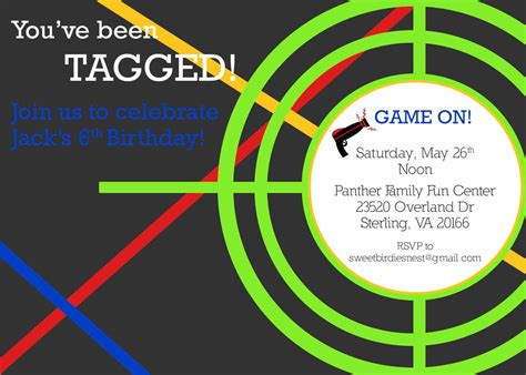 laser tag party invitations templates free