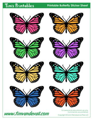 printable butterfly stickers printable butterfly templates and butterfly shapes