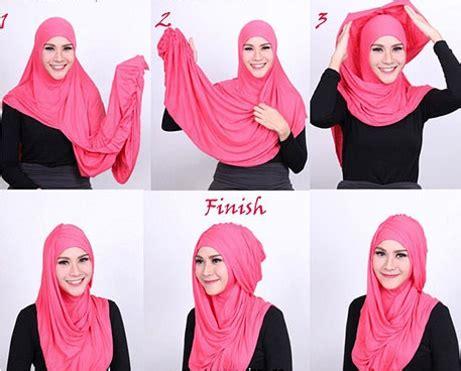 Tutorial Hijab Pashmina Kaos Terbaik Modelbusana | tutorial model hijab pashmina untuk lebaran perkaya