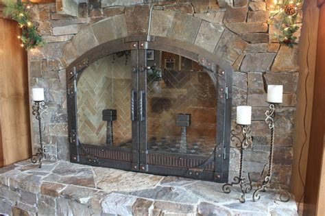 Arched Fireplace Glass Doors Arched Top Gusset Custom Vent Glass Midcentury Indoor Fireplaces Other Metro By