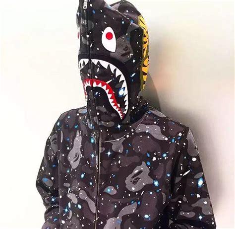 Sweater Jaket A Bathing Bape bape s a bathing ape space camo shark hoodie