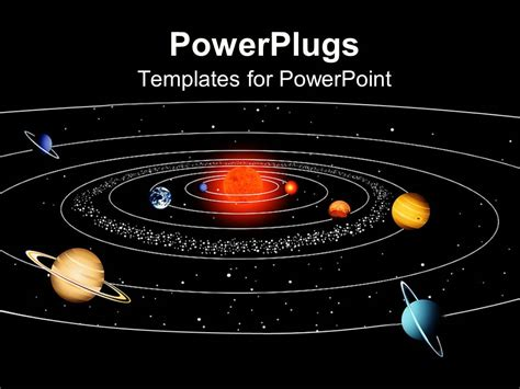 Powerpoint Template A Space View Of The Sun And Planets Of Their Orbits 26741 Solar System Powerpoint Template