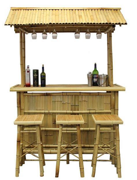 Portable Tiki Hut by Hawaiian Tiki Hut Three Bar Stools Bamboo Outdoor