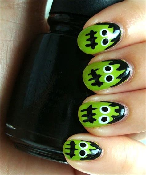 natural nail art tutorial nail art tutorial frankenstein s monster nails swatch