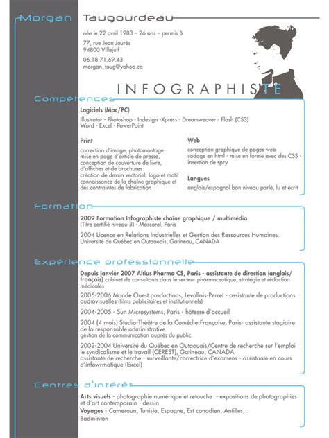 Cv Document Exle by Cv 11 Indd Cv Infographiste Pdf Page 1 1