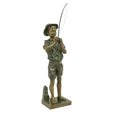 figure fishing bronze fishing figure by lavergne for sale at 1stdibs