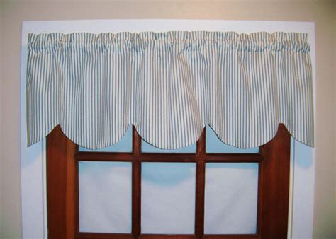 Scalloped Valances For Windows Decor Scalloped Ticking Stripe Valance Black Blue Gray Aqua