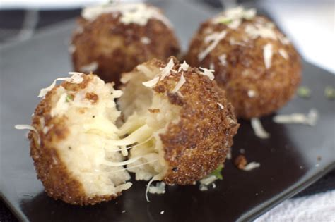 fried risotto balls that square plate