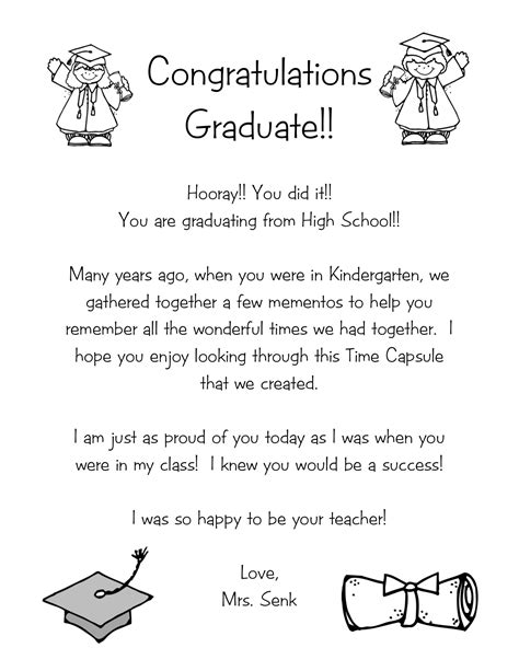 Thank You Letter To 1st Grade Time Capsule Letter Kindergarten Nana
