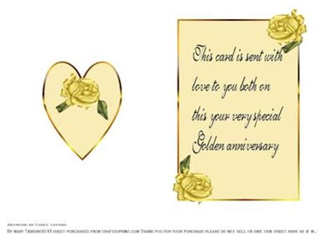 wedding anniversary card verses the golden wedding insert with verse cup172465 21 craftsuprint