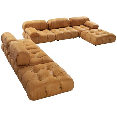 cognac leather sectional large sectional camaleonda sofa in cognac leather by