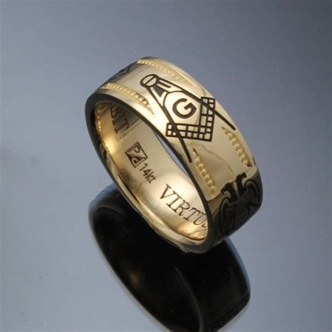 Handmade Gold Rings - handmade masonic ring in 14k gold vintage style 024