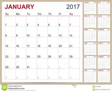 Kalender Englisch Calendar 2017 Stock Vector Image Of American