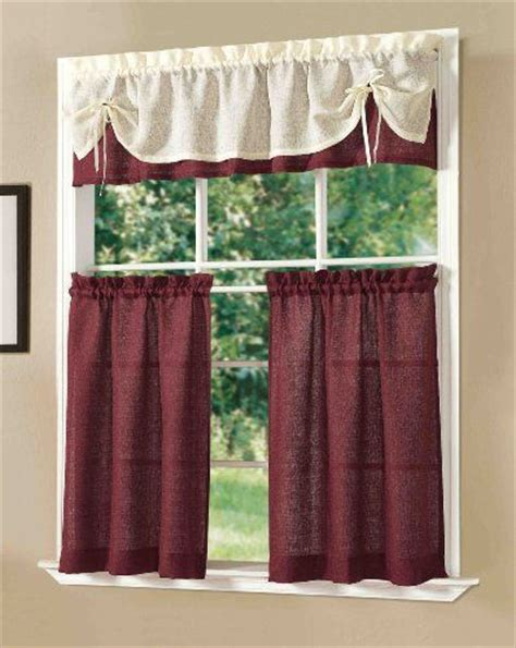 dainty home kitchen curtain set burgundy dainty