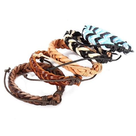 Handmade Mens Braided Leather Bracelets - mens genuine leather braided bracelet wristband handmade
