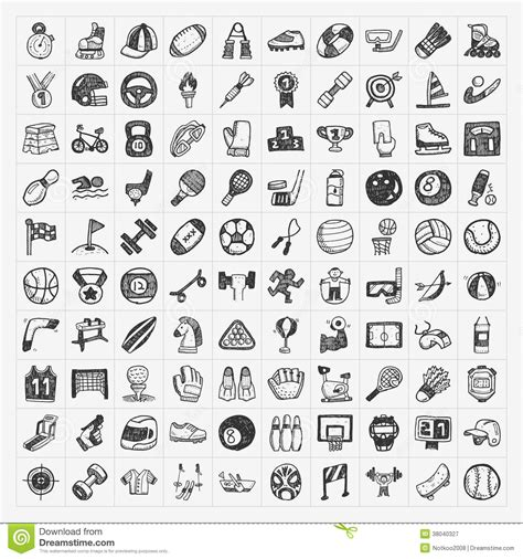doodle sport doodle sport icons royalty free stock photography image