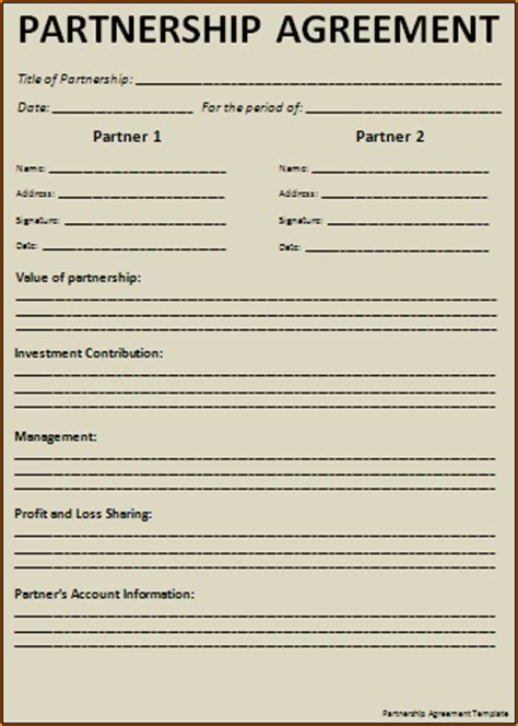 simple partnership agreement anuvrat info