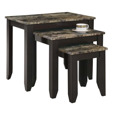 faux marble nesting tables monarch 3 faux marble top nesting table set in