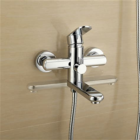 wall mount bathtub faucet with shower chrome finish tub faucet with round hand shower wall