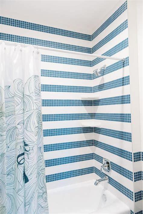 cottage bathroom blue tiles design ideas