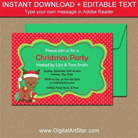 christmas invitation templates free editable downloadable invitations with reindeer editable invitation template