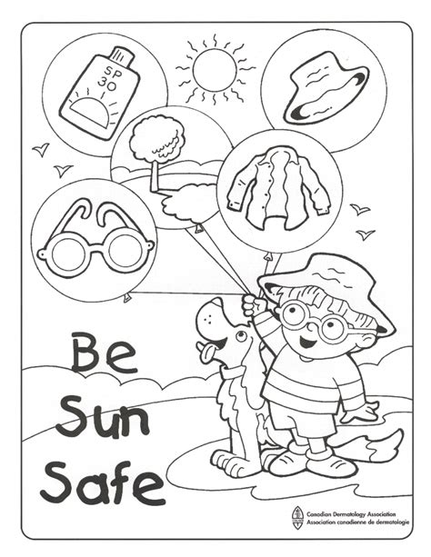 sun block coloring page sun safe colouring sheet pinteres