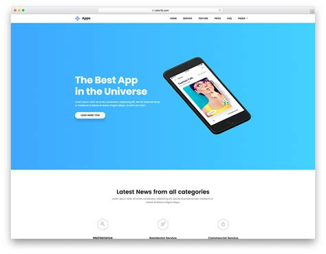 Best Free Android App Website Templates 2018 2 Page Website Template