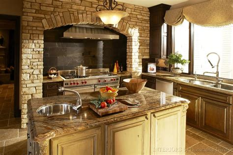 kitchen accessories design cool tuscan kitchen decor with fireplace and brick wall