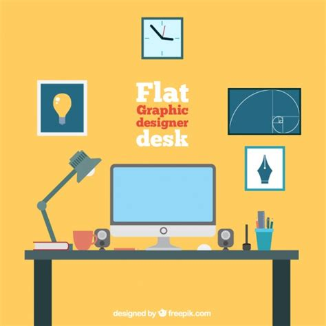 graphic designer desk flat graphic designer desk collection vector free