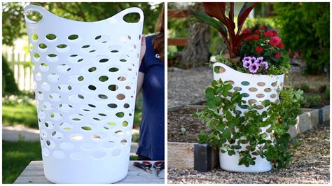 Planter Pots by Laundry Basket Turned Strawberry Planter Youtube