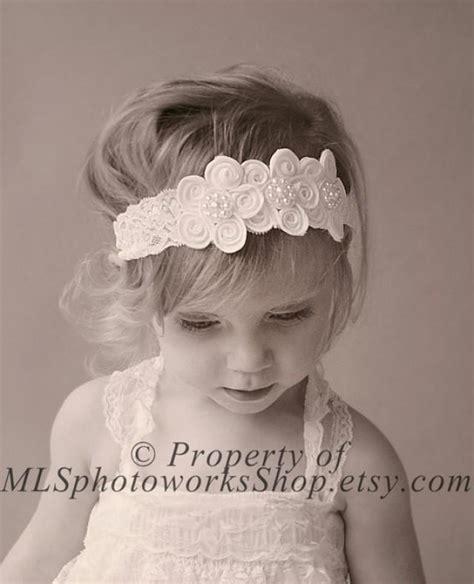 vintage style flower headband baby headband newborn vintage scalloped lace flower headband white baby