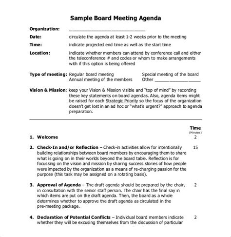 sle board meeting agenda template meeting governance template 28 images 8 board meeting