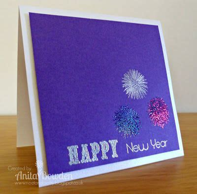 Handmade Fireworks - the purple background is for the three embossed