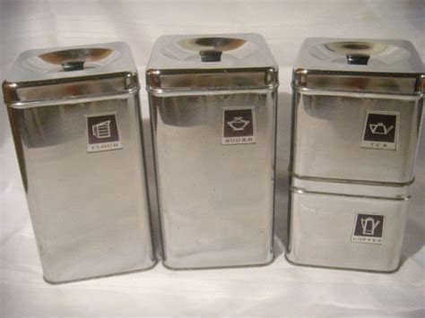 cool kitchen canisters awesome square stainless steel modern vintage retro chrome metal black canister set 4 ebay