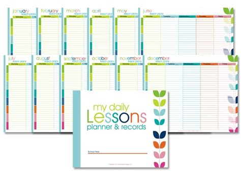 free printable homeschool teacher planner 6 best images of free printable lesson planner free
