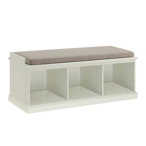 home decorators bench home decorators collection amelia rectangle fabric cushion 3 cubby bench in white sk17739b the