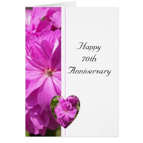 70th Wedding Anniversary Card Uk by Pink Geranium 70th Wedding Anniversary Zazzle