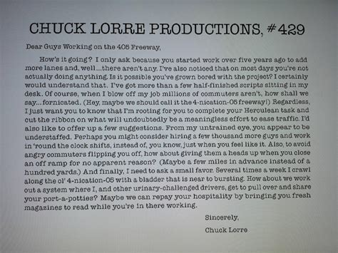 Chuck Lorre Vanity Cards Censored by Chuck Lorre Really Hates The 405 Freeway