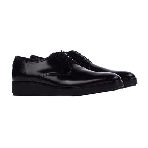 prada mens sneakers prada prada mens shoes derby lace up black leather shoes