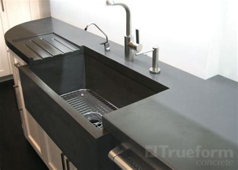 Kitchen Countertop With Built In Sink by Custom Concrete Countertops Concrete Trueform Concrete