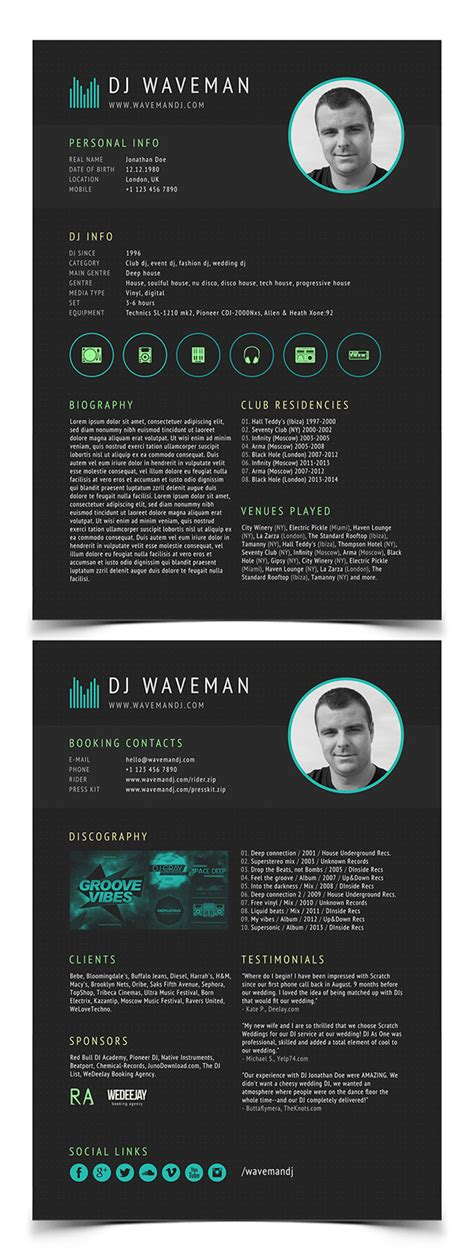 dj press kit template free modern cv resume templates with cover letter design