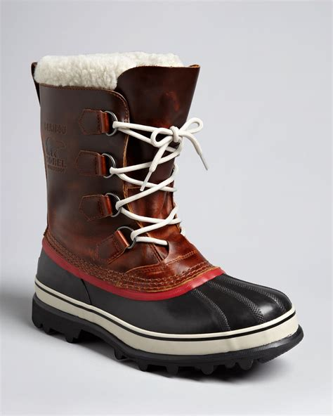 sorel caribou wool boots in brown for lyst