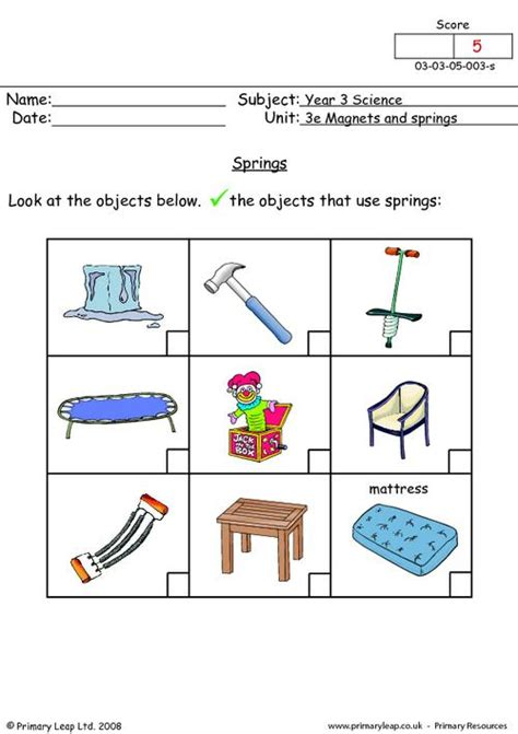 Magnets Worksheet by What Uses Springs Primaryleap Co Uk