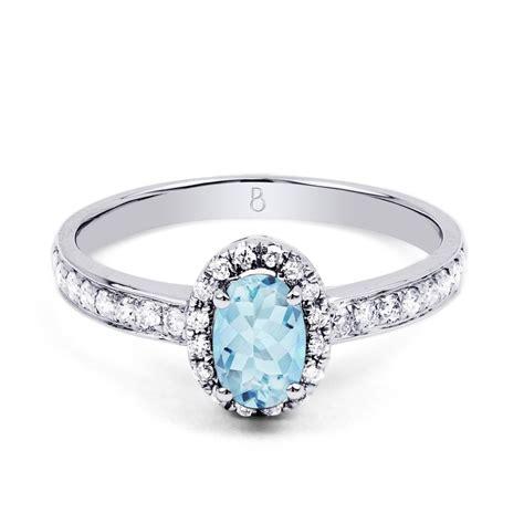 18ct white gold aquamarine halo engagement ring