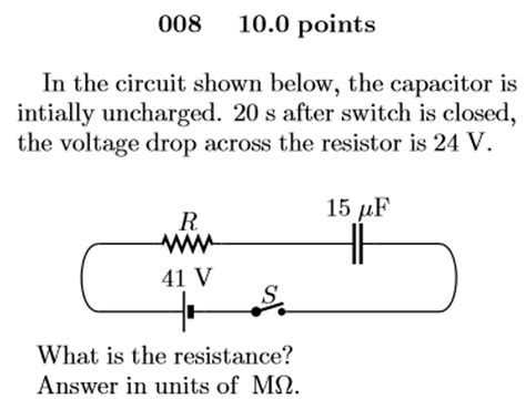 an uncharged capacitor and resistor are connected in series to a battery physics archive march 02 2017 chegg