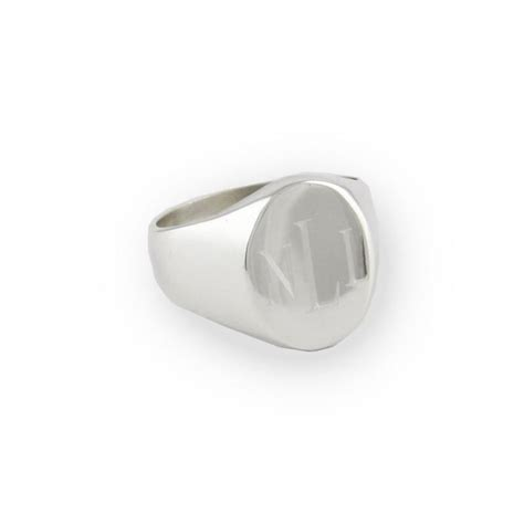 mens sterling silver personalized oval signet ring be