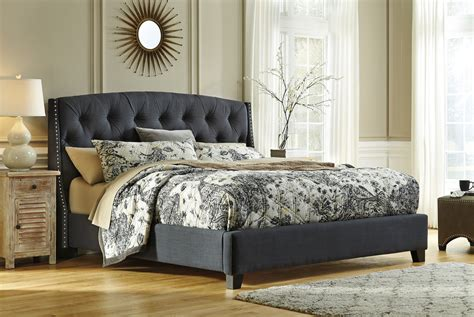 where to buy bed headboards ashley kasidon dark gray tufted bed mathis brothers