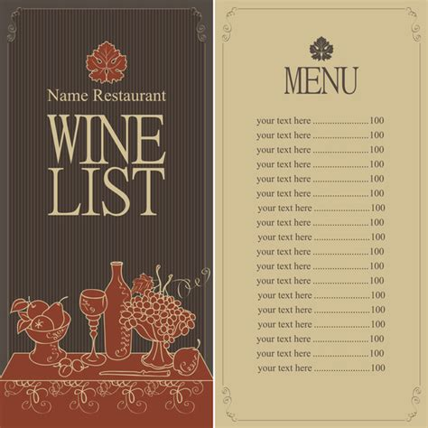 wine list templates wine menu list template vector material 04 vector cover