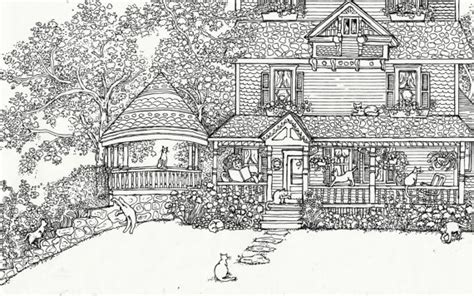 coloring page house of cats instant
